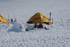 Vintercamping och frukost i det fria
